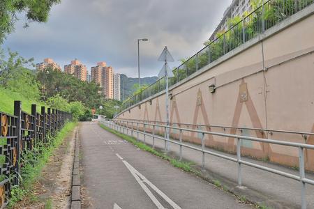 empty cycling path at sha tin Stock Photo