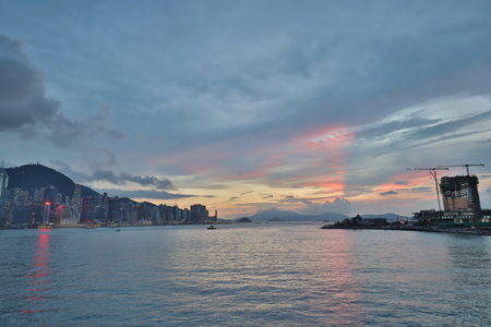the west view of Victoria harbor,hong kong Stock Photo
