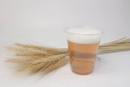 the beer with barley at the table