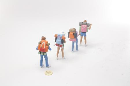 the group mini people figure standing on Standard-Bild