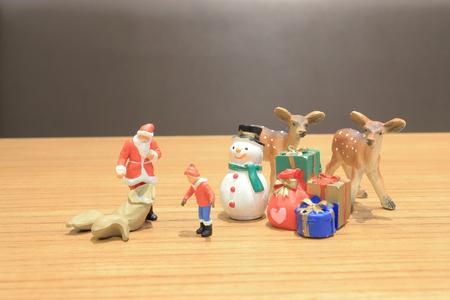 the fun of xmas theme figure on board Archivio Fotografico