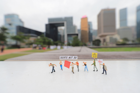 the figure of Pedestrians, demonstrators at hong kong