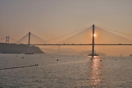 Hong Kong, Ting kau bridge at Tsuen Wan 版權商用圖片