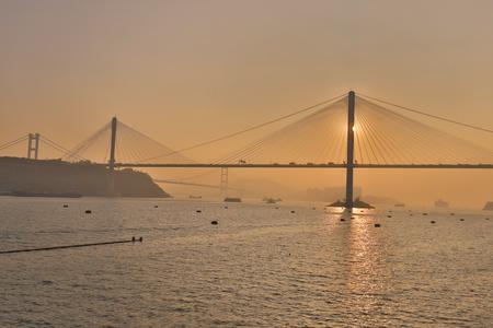 A Hong Kong, Ting kau bridge at Tsuen Wan 版權商用圖片