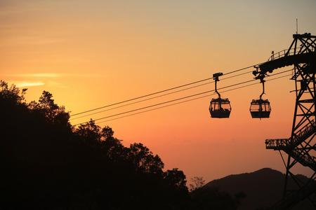 sun set view of  Ngong Ping 360 cable car