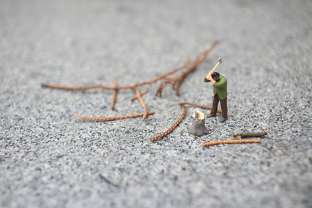 mini figure Cutting Down Trees with an Axe