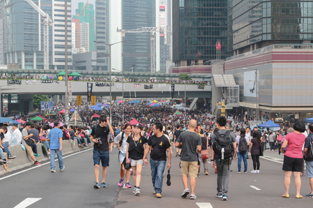The central occupy in the city road in Hong Kong