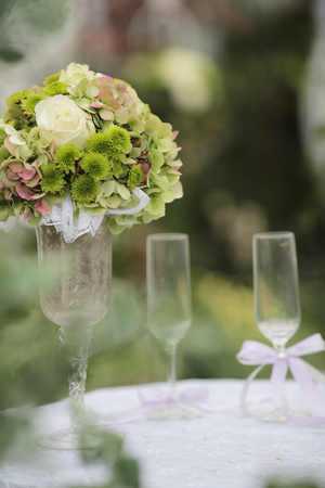 the event party or wedding reception, focus on bouquet