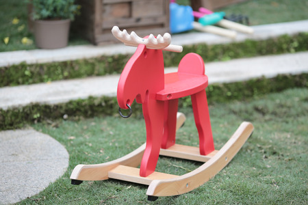 the Wood horse in park Stock Photo