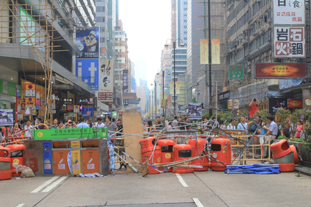 the  protesters occupy the road in Mongkok on  October 2014.