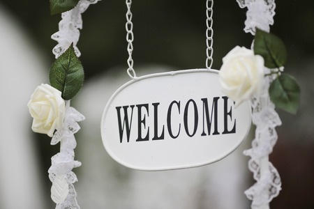 the event party or wedding reception, focus on welcome sign