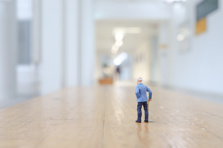 a small figure of Old man walk 스톡 콘텐츠