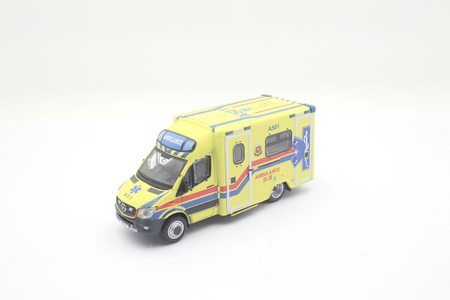 5 may, 2019: the scale of Yellow mercedes benz ambulance car