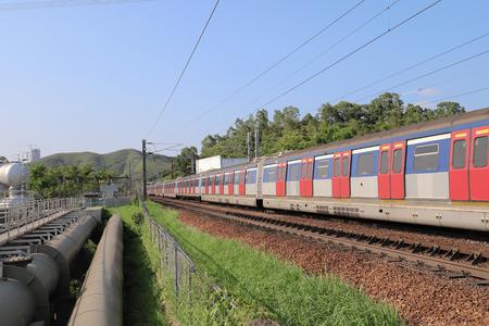 Hong Kong, 12 may 2019:  the railway at Sheung Shu Zdjęcie Seryjne - 122445027