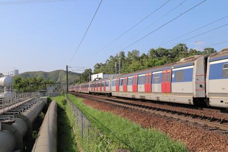 Hong Kong, 12 may 2019:  the railway at Sheung Shu Zdjęcie Seryjne - 122445048