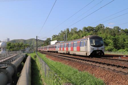 Hong Kong, 11 may 2019: the railway at Sheung Shu Zdjęcie Seryjne - 122445057