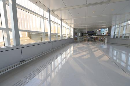 Hong kong,11 may 2019: long bright hall way at airport.