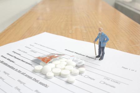 health care report with mini figure
