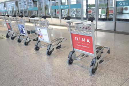 Hong kong,11 may 2019: baggage carts for tourists at airport.