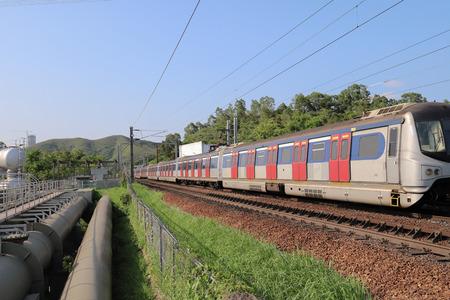 Hong kong,12 may 2019: the railway at Sheung Shu Publikacyjne