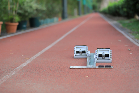 starting block on sprint start 写真素材