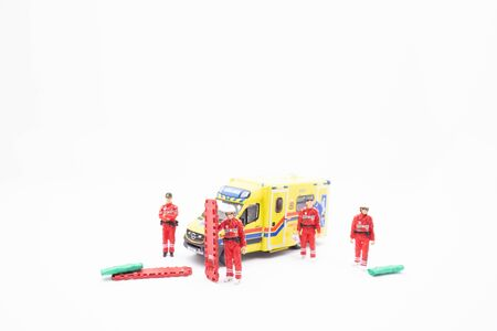 the Medical worker run to ambulance car