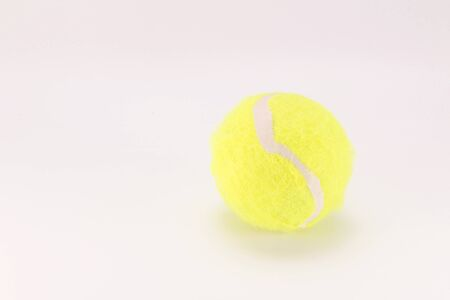 The close distance of the yellow tennis ball