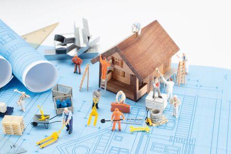 Plan de la casa de impresión azul. Casa de arquitectura de diseño