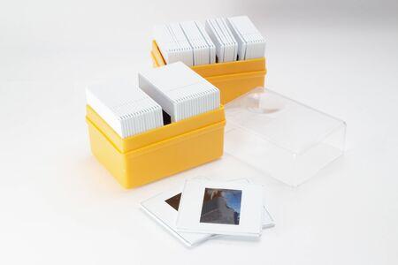 the box of Slides on white background Foto de archivo - 129759336