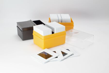 the box of Slides on white background Foto de archivo - 129761415