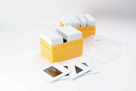 the box of Slides on white background Foto de archivo - 129761527