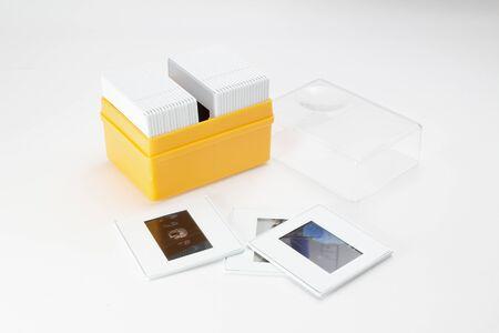 the box of Slides on white background Foto de archivo - 129702662