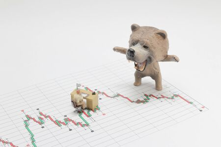 bear market, price drop in stock concept, bear figure Banque d'images