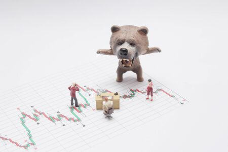 bear market, price drop in stock concept, bear figure