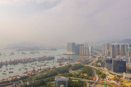 26 Oct 2019 Drone fly over Hong Kong city 写真素材