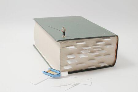 the fun of mini figure fish on the book 版權商用圖片