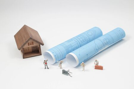a min figure Building House and Evacuation Plan