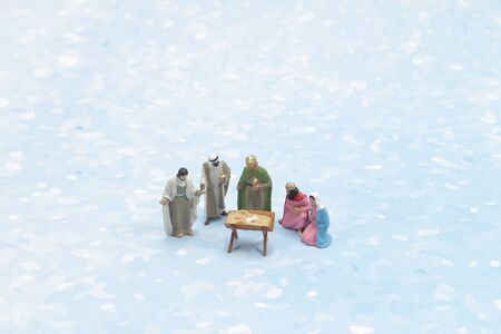 figure toys of Christmas nativity scene with baby Jesus, Mary & Joseph Stock Photo