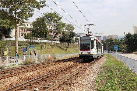 Moving kight Train In Hong Kong At Day 11 jan 2020  版權商用圖片