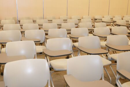 the Empty seat lecture hall. no people.
