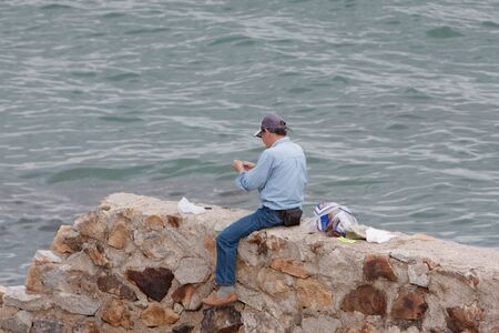 the people fishing at old Lei Yue Mun Quarry 23 april 2008