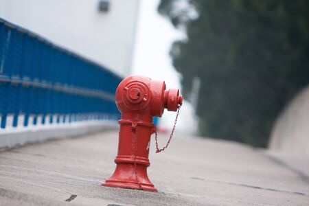 Red fire hydrant. on the street at hk