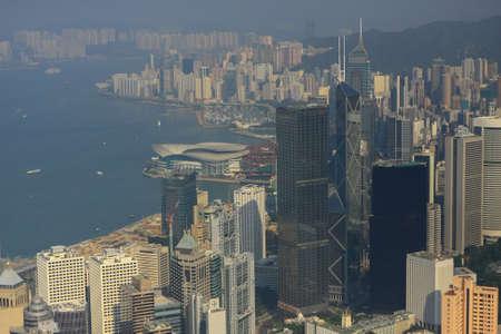 The Peak Hong Kong. Aerial view of Victoria Peak in Hong Kong, 11 oct 2008 Редакционное