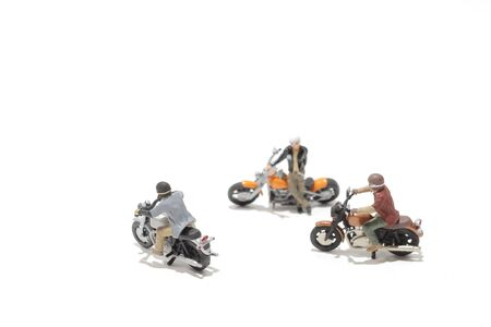 a group of figure ride the motorcycle 스톡 콘텐츠