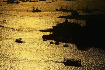 sunset viewpoint at Victoria Harbour, hong kong.
