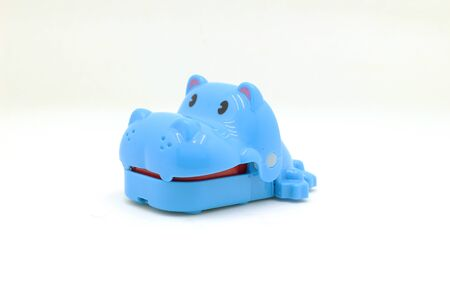the plastic animal toy isolated on white back ground
