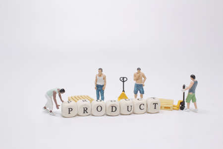 mini worker with wood letters making product analysis text Stock fotó