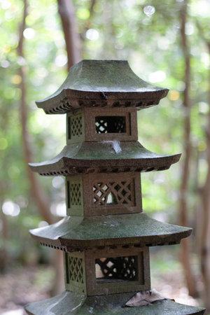 the stone Lantern at the nature garden Stock Photo