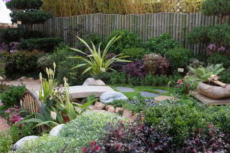 a Spring time in domestic garden. Beautiful spring garden