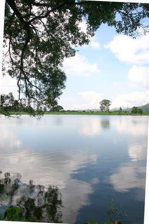 the Reflection of the Kai Kung Leng, at Shan Pui Tsuen fish pond.